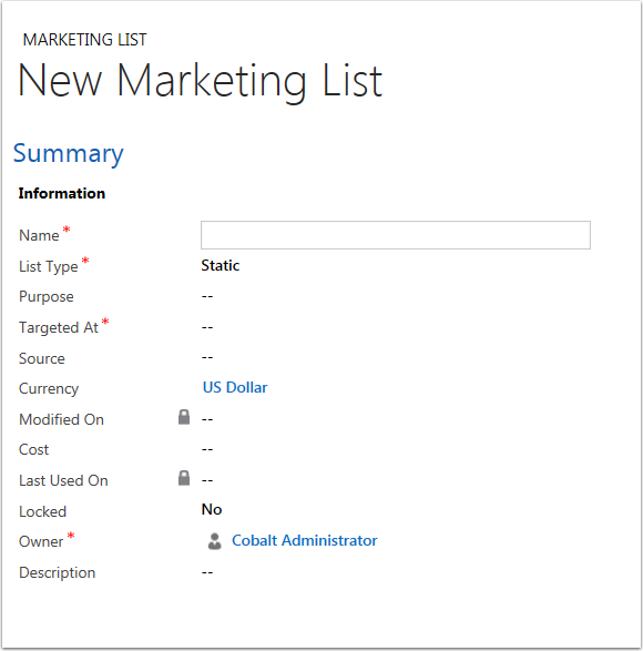Complete the required fields for your new marketing list and click Save.
