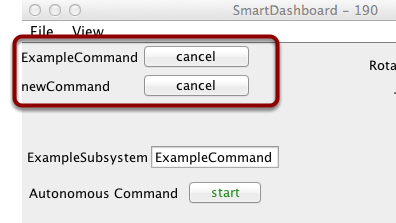 The scheduler display showing a few commands running