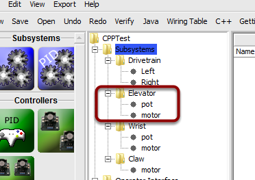 Add components to each of the subsystems