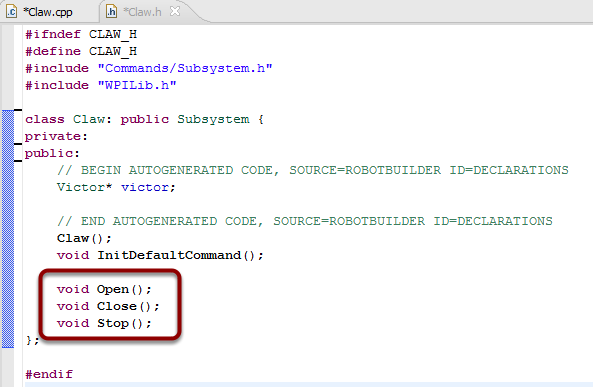 Adding the method declarations to the generated header file - Claw.h