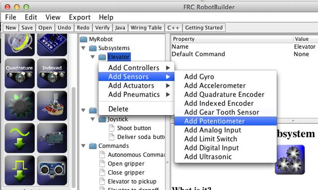 Adding components using the right-click context menu