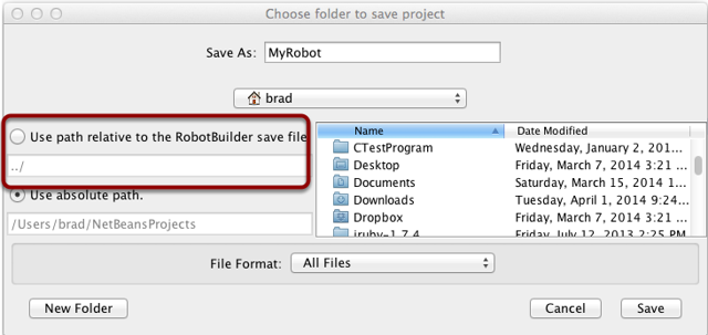 Using source control with the RobotBuilder project