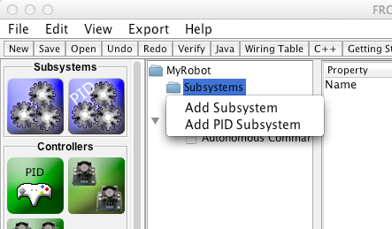 Creating a subsystem by using the context menu on the Subsystem folder