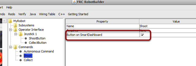 Creating the button on the SmartDashboard