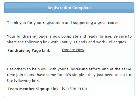 after a fundraiser has signed up as per procedure how do teams or individuals sign up they will receive a unique fundraising url that is unique to their