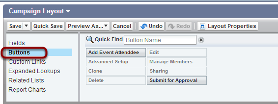 Select 'Buttons' from the list under 'Fields'