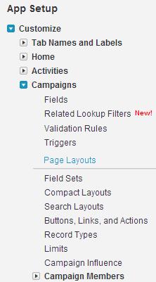 Navigate to Setup > App Setup > Customize > Campaigns > Page Layouts