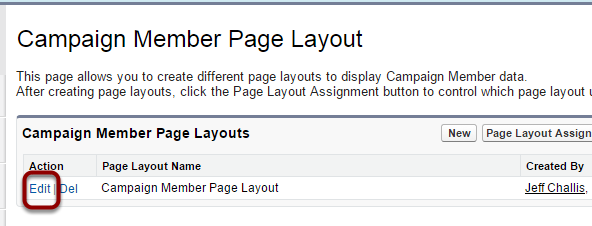 Select 'Edit' next to the page layout that you would like to add the buttons to