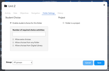 Enable and configure student choice activities