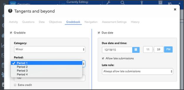 Assign activities to grading periods