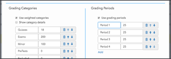 Enable grading periods in your course
