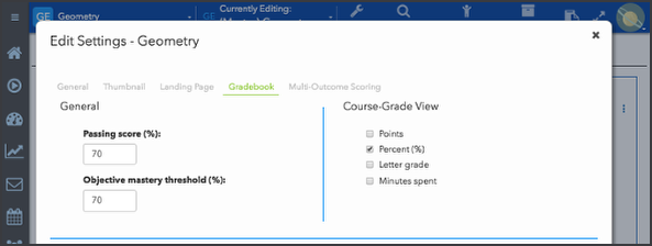 Manage Course Card grade display