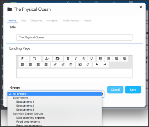 Specify groups in the activity editor