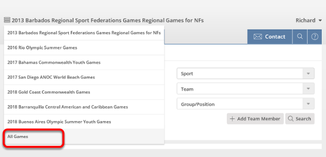 Selecting a Games or Show All Games