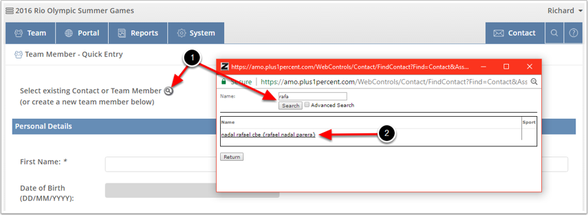 Search the Database for Existing Contact - Avoid Duplicates