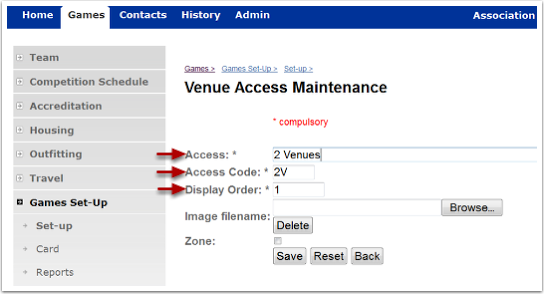 Venue Access Fields