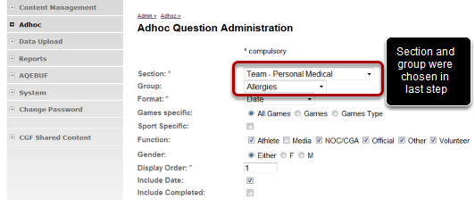Adhoc Question Administration