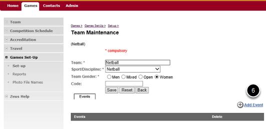 Adding a Team to an Event