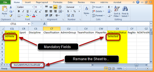 Make Sure the Function and Selection Status Fields are Populated