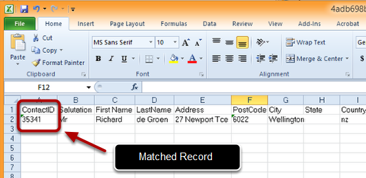 Check the Returned Excel Spreadsheet for Matches and Errors