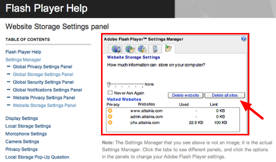 Step 1: Website Storage Settings Panel