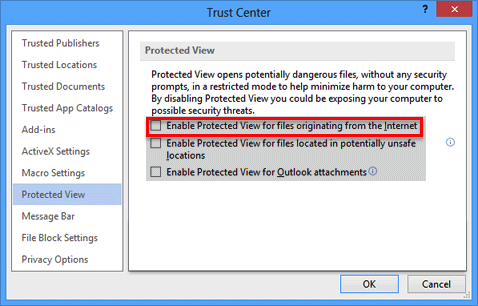 """Step 6 - UNcheck """"Enable Protected View for files originating from the Internet"""""""