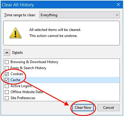 """Select """"Cookies"""" and """"Cache"""" and make sure """"Time range to clear"""" is set to """"Everything"""" then click """"Clear Now"""""""