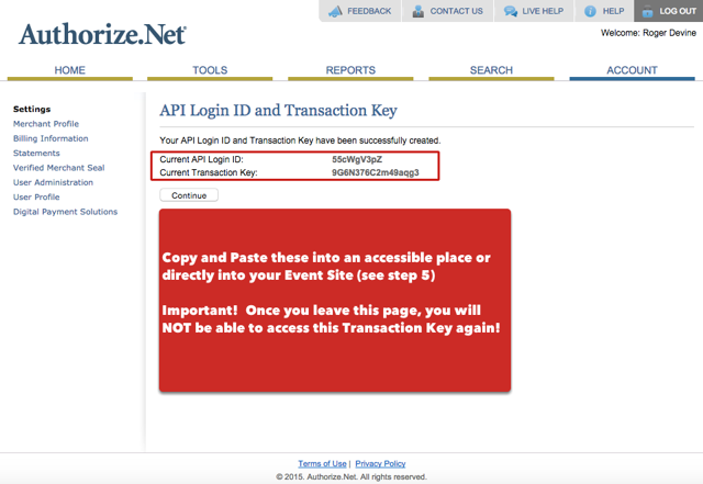 Copy API Login ID and Transaction Key