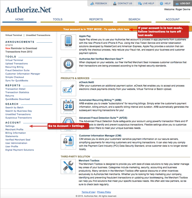 1.  Login to your Authorize.net account: