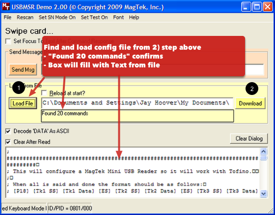 6 & 7  Load & download the configuration file (Option 1 or 2) from Step 2 above