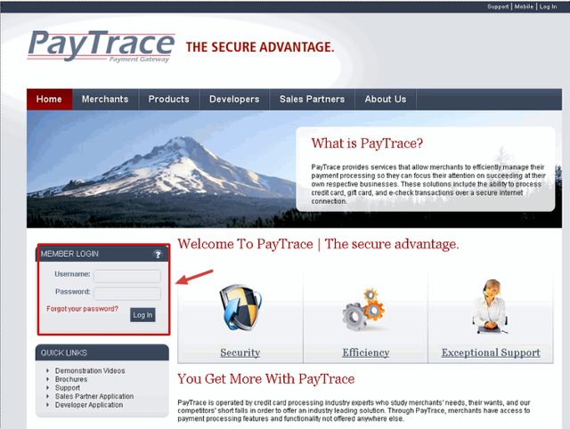 Browse to:  http://www.paytrace.com and log in:
