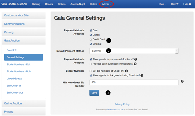 To enable external payment method for Gala Auction (Chair Role required):