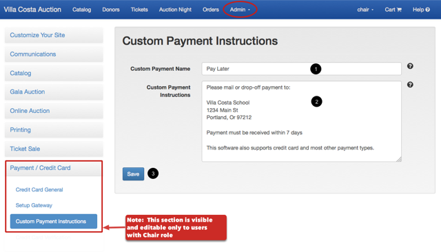 To define custom payment instructions: