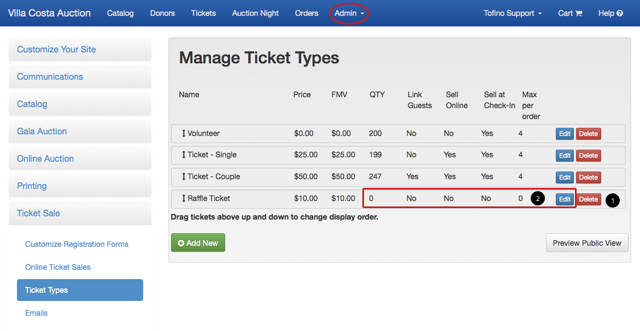 1.  Remove ticket types set up for items: