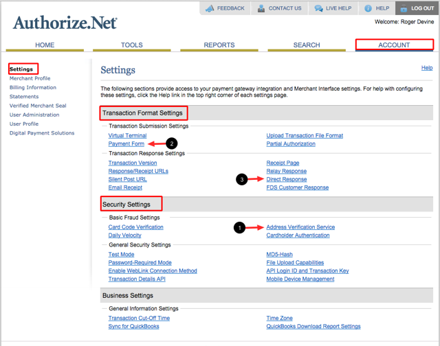 Login to your Authorize.net Account then go to Account > Settings: