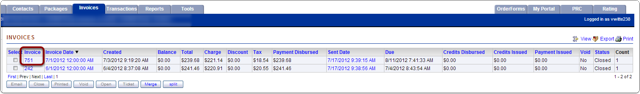 3.  From the Customer account, Invoice Tab