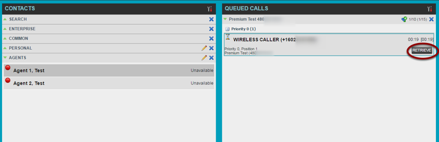 Retrieving a Queued call