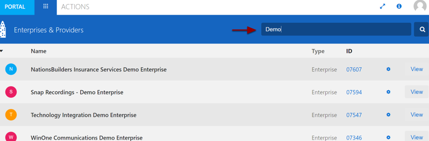 3. From the search & filter section enter the Enterprise Name or Enterprise ID you would like to access in Broadsoft.