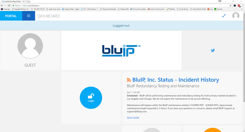 1. Select login from https://portal.bluip.io