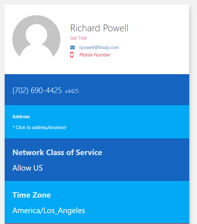 You can view and update the user's name, address, network class of service (only available if the enterprise is authorized for international calling), and time zone. This is done by selecting that portion of the screen