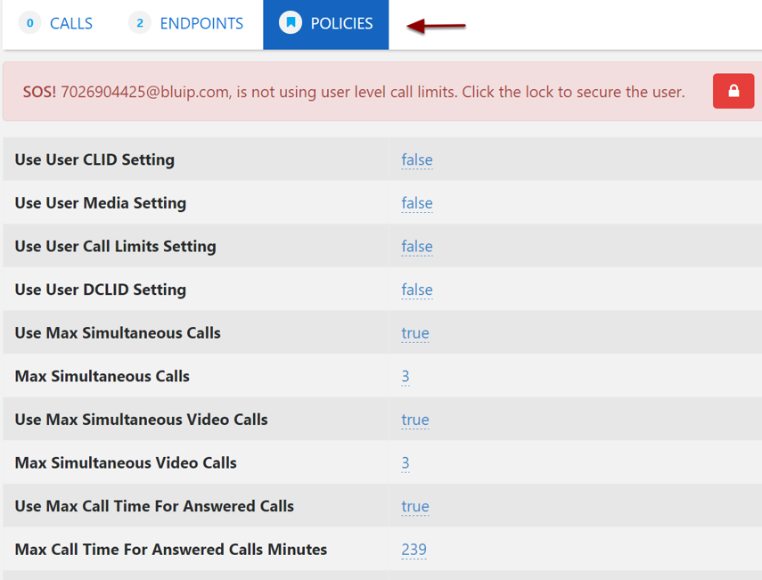 You can view and update the call processing policy set in Broadsoft by selecting policies.