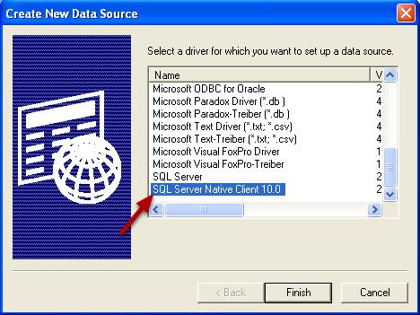 Select SQL Server Native Client Driver