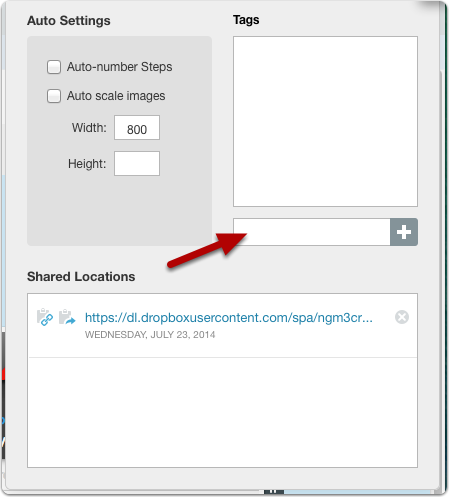 Add tags by typing in the tag field...