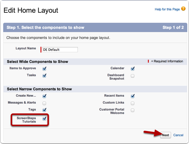 Enable the ScreenSteps Live Home Page Component