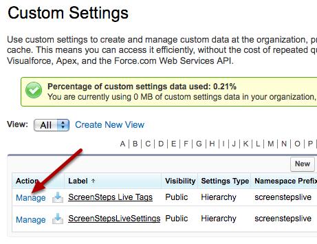 Manage the ScreenSteps Live Tags Custom Settings