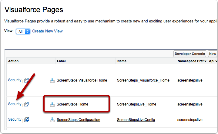 """Repeat steps for the """"ScreenSteps Home"""" Visualforce Page"""