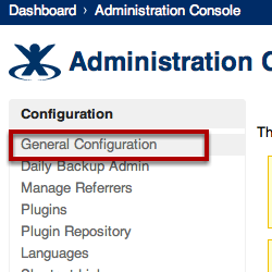 Open General Configuration Page