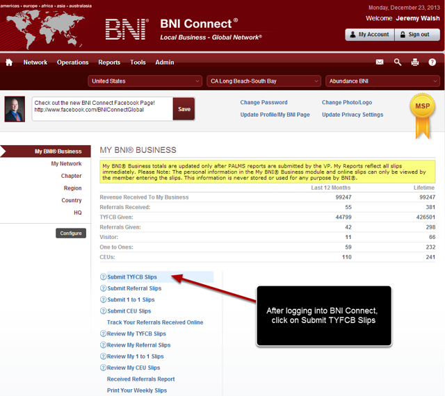 Log Into BNI Connect and Choose Submit TYFCB Slips