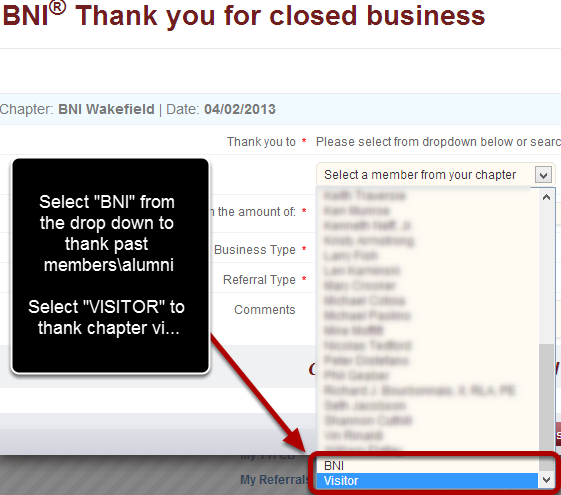 "Thanking ""BNI"" and ""VISITORS"" For Closed Business"