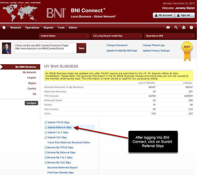 Log Into BNI Connect and Choose Enter Referrals